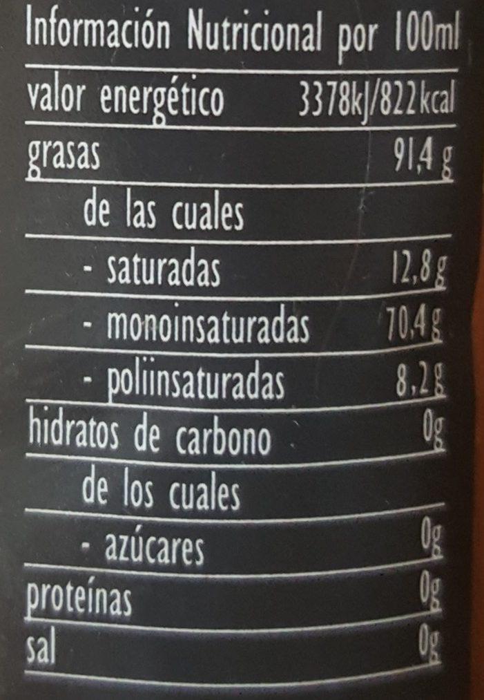 Aceite de Oliva Virgen Extra - Informations nutritionnelles - fr