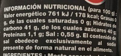 Crema de vinagre balsámico - Información nutricional