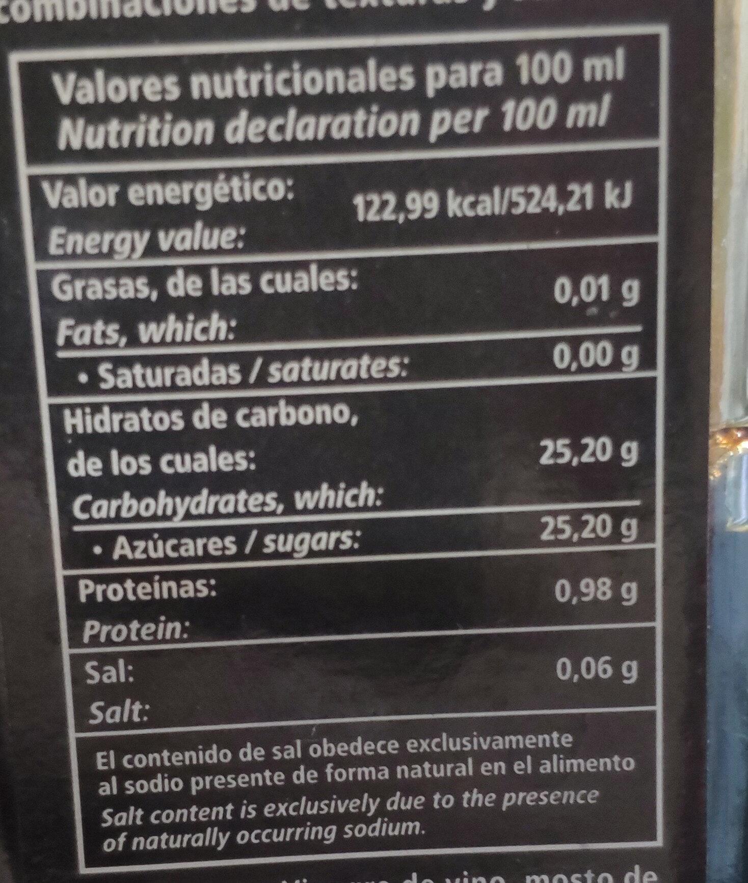 Vinagre balsámico de módena - Información nutricional - es
