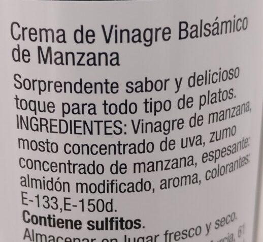 Créma de vinaigre balsamico de Mandanda Maçã - Ingrédients