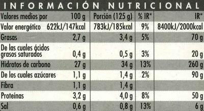 Arroz cocido basmati - Información nutricional - es