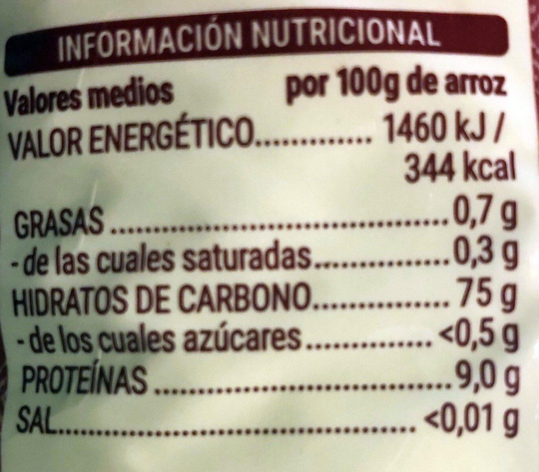 Arroz aromático jazmín - Valori nutrizionali - es