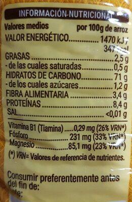 Arroz integral redondo - Nutrition facts - es