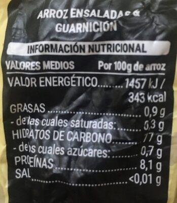 Mezcla de arroces Especial ensaladas y guarnición - Informació nutricional - es