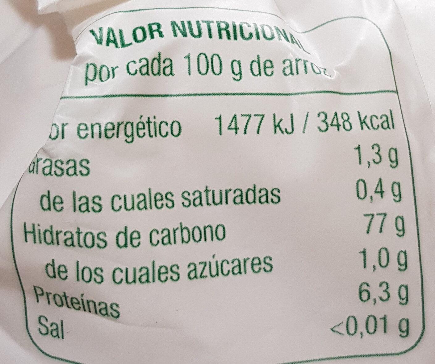 Arroz redondo vaporizado - Informació nutricional