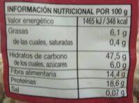 Garbanzo lechoso - Información nutricional