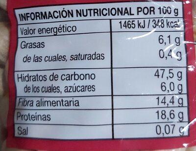 Garbanzo lechoso categoría extra - Información nutricional