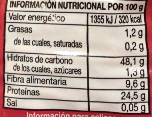 Lenteja Rapida - Información nutricional - es