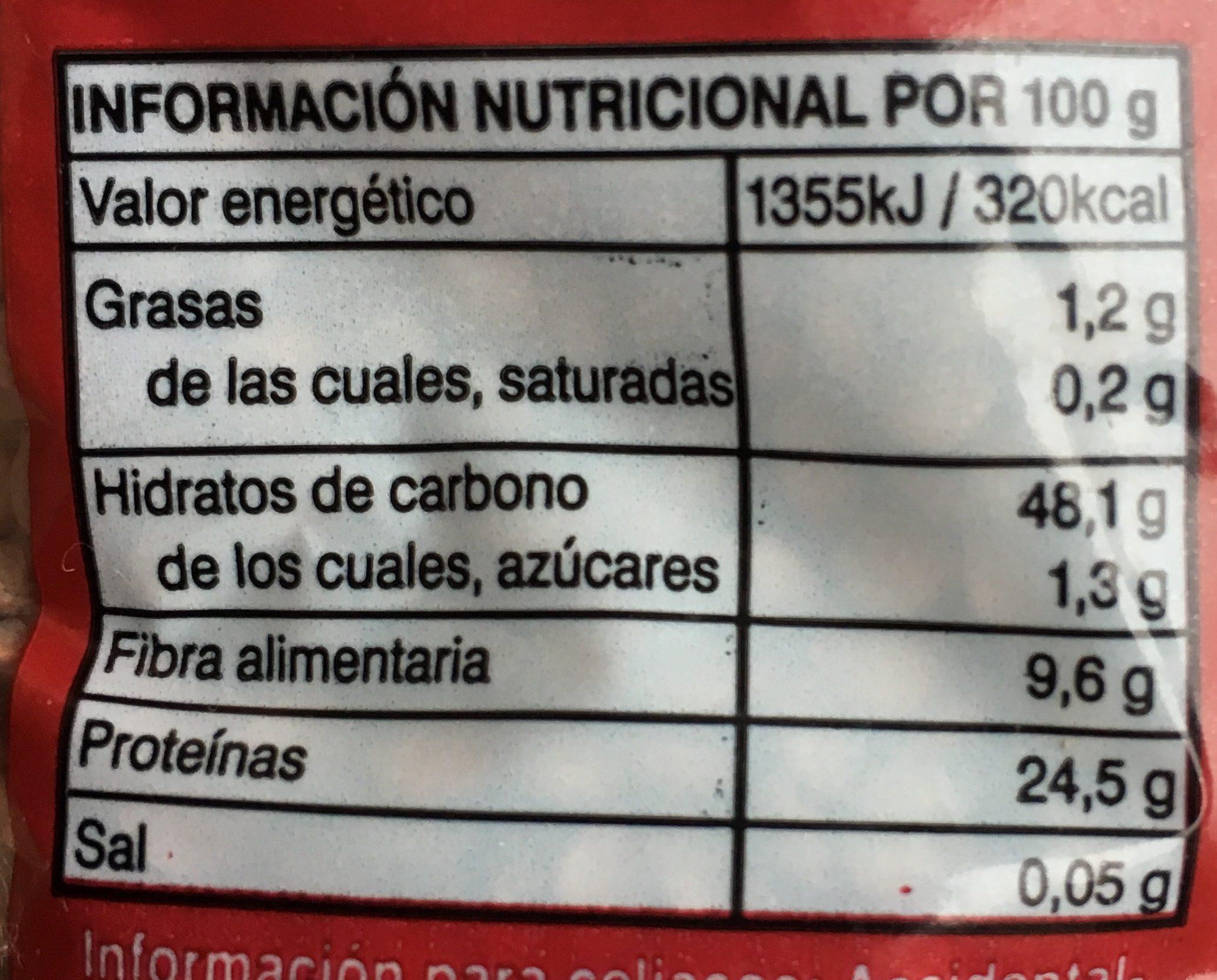 Lenteja Pardina - Información nutricional