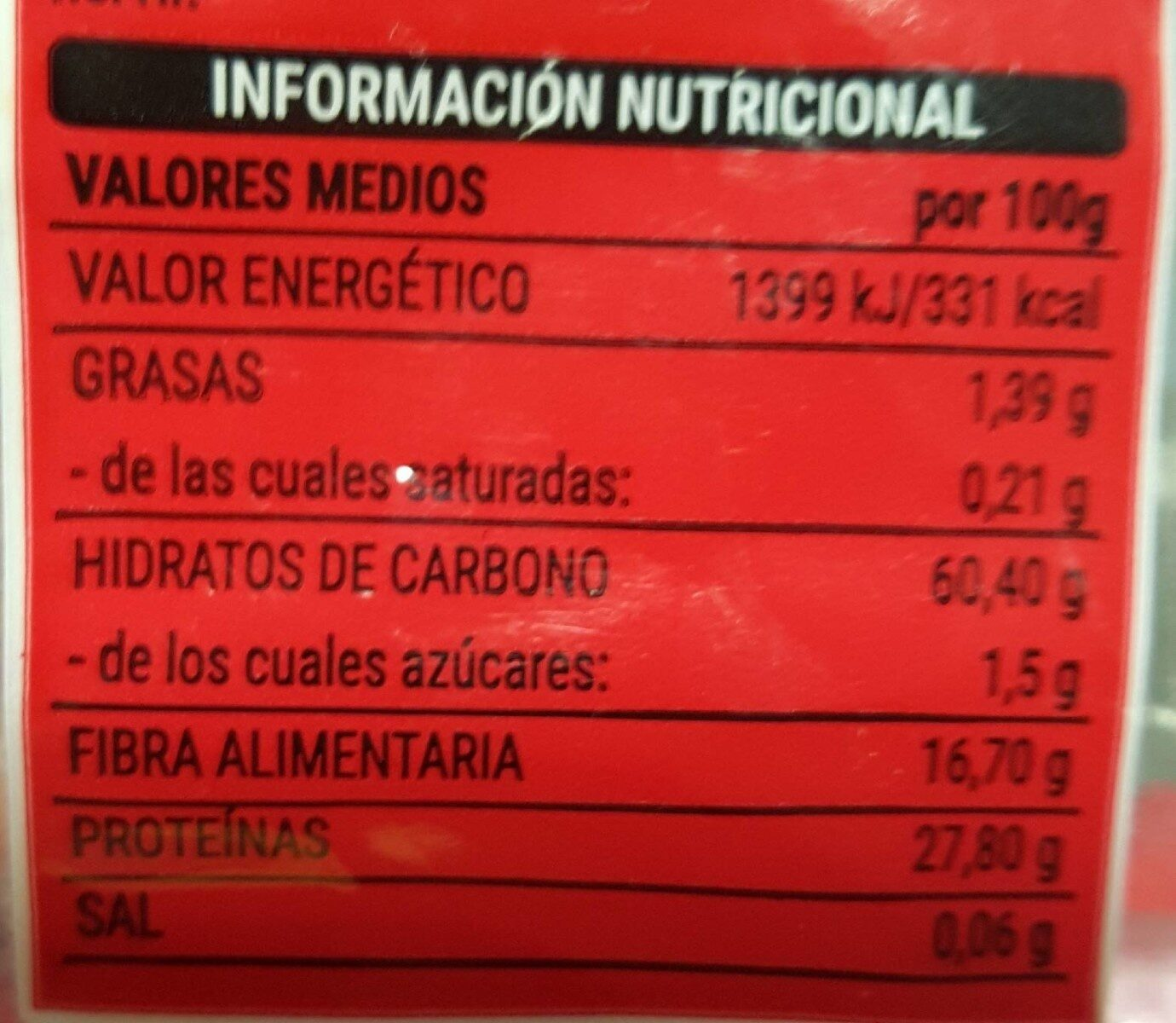 Lenteja pelada - Información nutricional - es