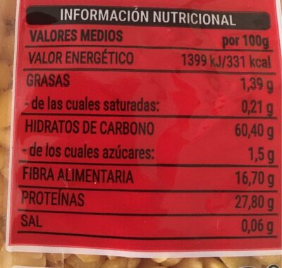 Lenteja pelada - Informations nutritionnelles - es