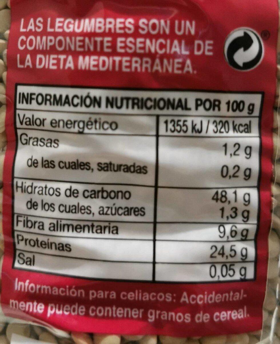 Lenteja tipo Lanzarote - Informació nutricional