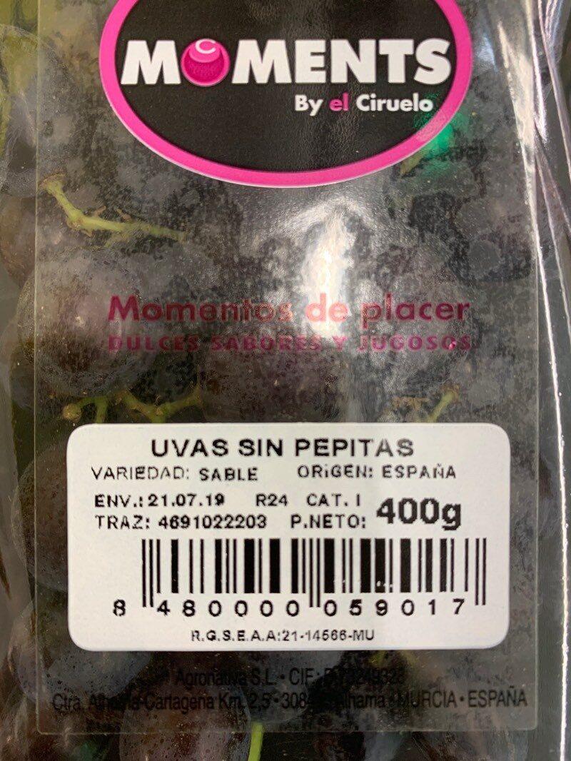 Uvas sin pepitas - Información nutricional
