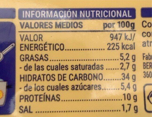 Pasta alimenticia fresca al huevo rellena de quesos - Informations nutritionnelles - es