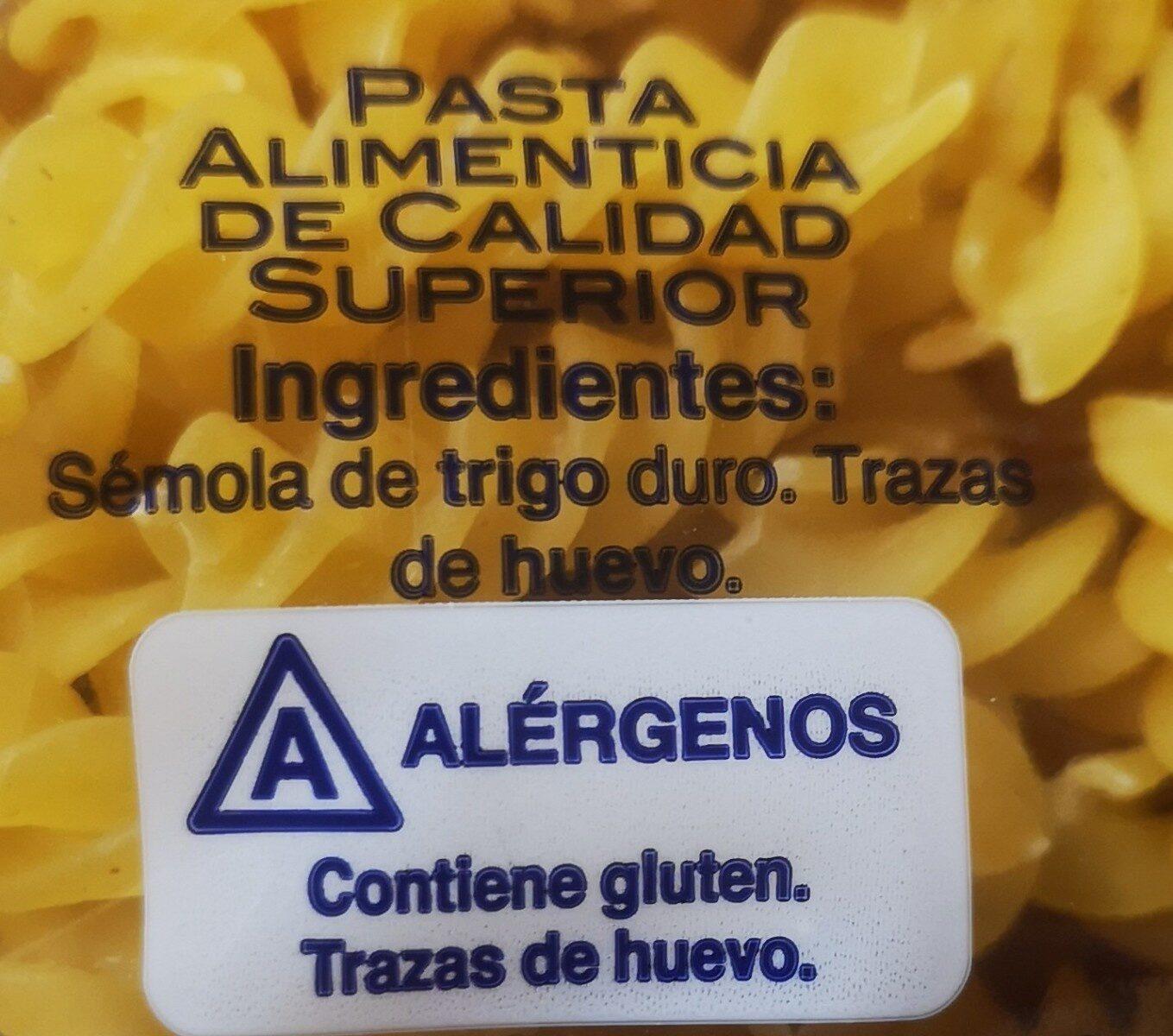 Hélices. Pasta Alimenticia De Calidad Superior - Ingredientes - es