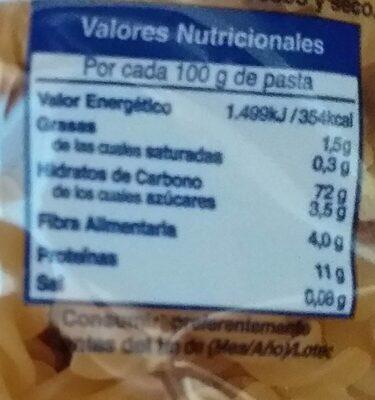 Hélices. Pasta Alimenticia De Calidad Superior - Información nutricional - es