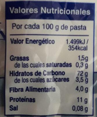 Pasta Tiburón - Información nutricional