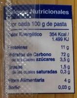 Spaghetti - Información nutricional