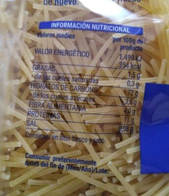 Fideo mediano - Nutrition facts - es
