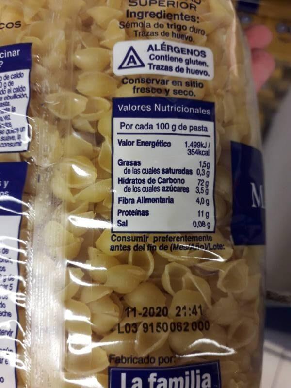 Pasta mariscos - Información nutricional