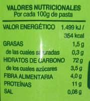 Tagliatelle nidos de espinacas - Informació nutricional - es