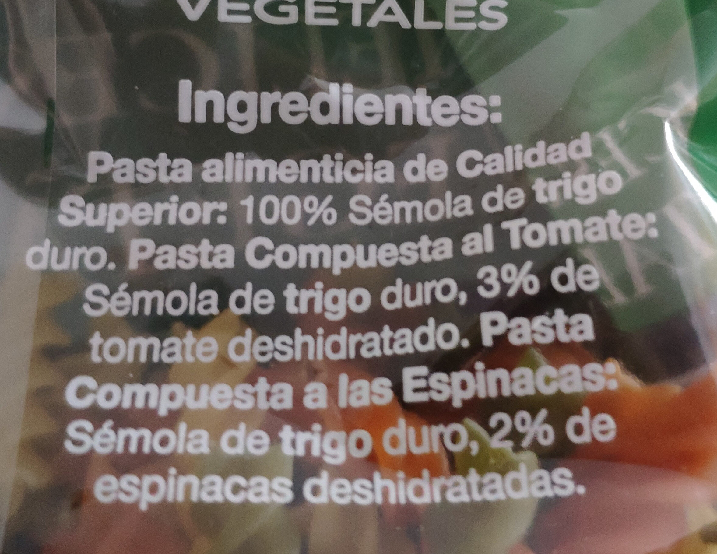 Hélices con vegetales - Ingredientes - es