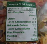 Hélices con vegetales - Informations nutritionnelles - es
