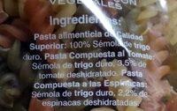 Hélices con vegetales - Ingredienti - es