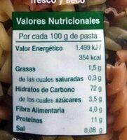 Hélices con vegetales - Valori nutrizionali - es
