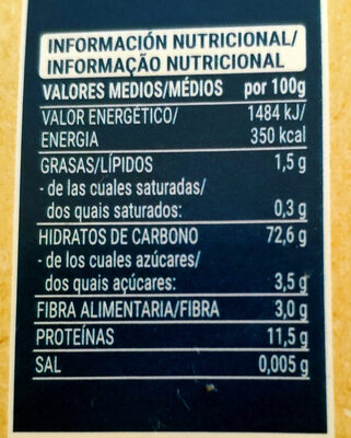 Cannelloni tubos precocidos - Informations nutritionnelles - es