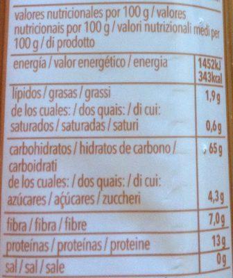 Spaguetti Integral - Información nutricional