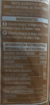 Spaghetti integral - Información nutricional - es