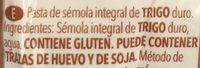 Fideos integral - Ingredients