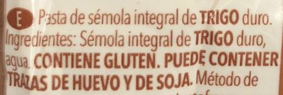 Fideos integral - Ingredients - es