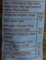 Fideos integral - Nutrition facts