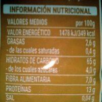 Fideo integral - Valori nutrizionali - es