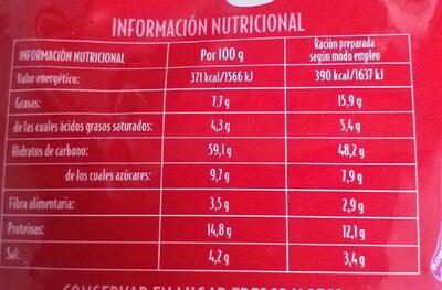 Tallarines a la parmesana - Información nutricional - es
