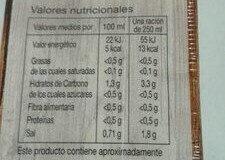 Caldo de pollo - Información nutricional
