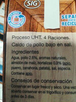 Caldo de Pollo bajo en sal - Ingredienti - es
