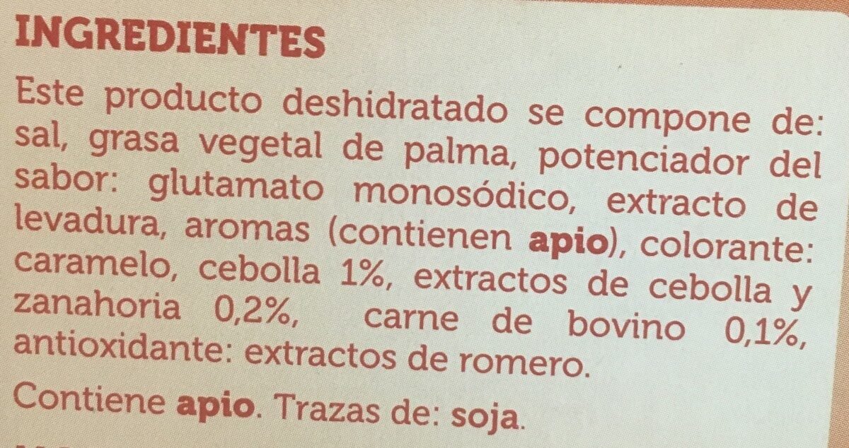 Caldo Sabor carne - Ingrédients