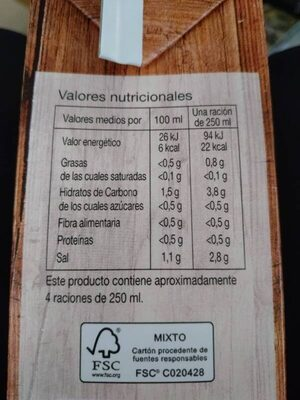 Caldo de cocido - Informació nutricional