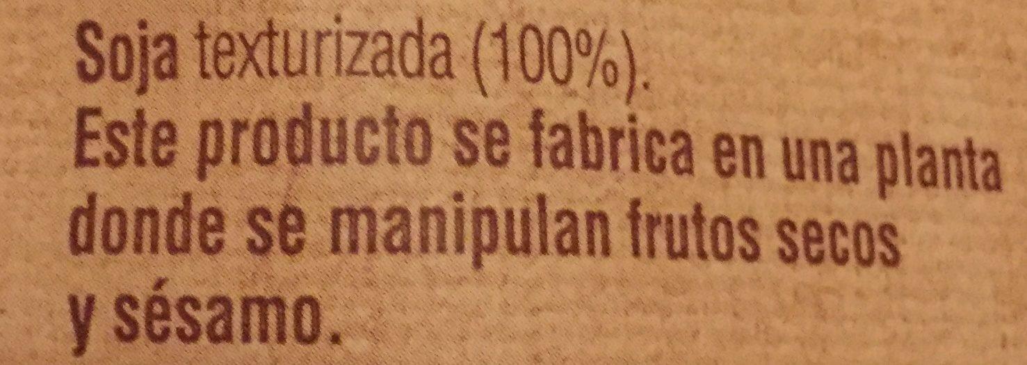 Soja Texturizada Grano Fino - Ingrédients
