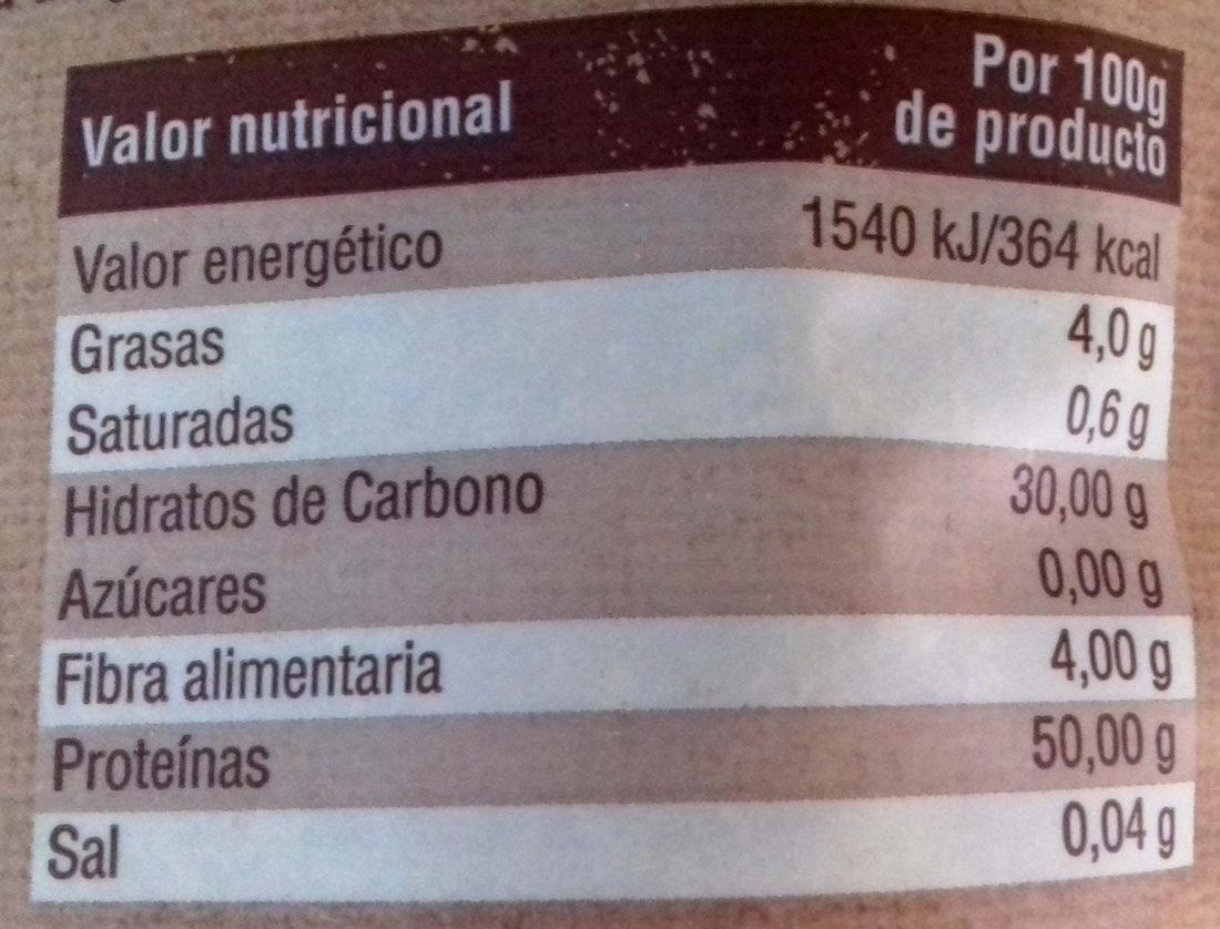Soja texturizada - Información nutricional