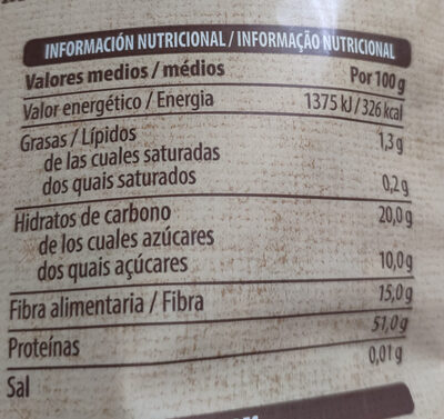 Soja texturizada fina - Informations nutritionnelles - es