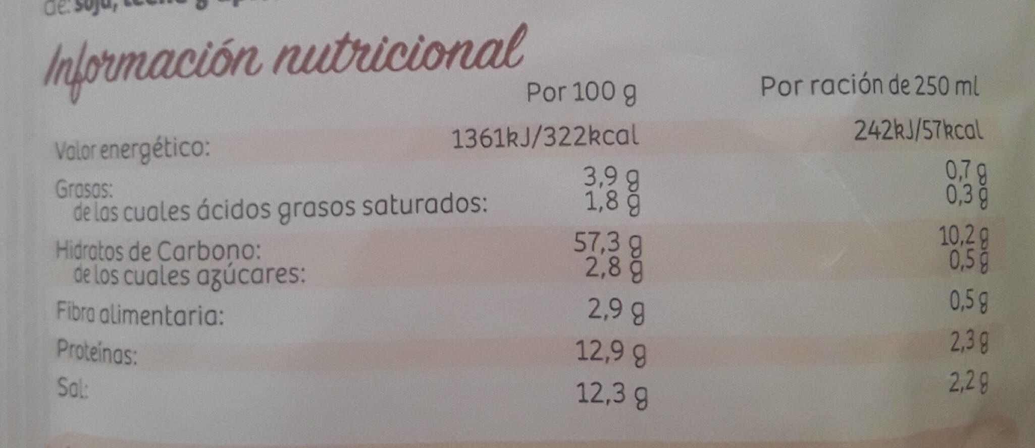 Sopa De Pollo Con Fideos Finos Deshidratada - Informations nutritionnelles - es