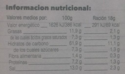 Sopa instantánea verduras - Informació nutricional