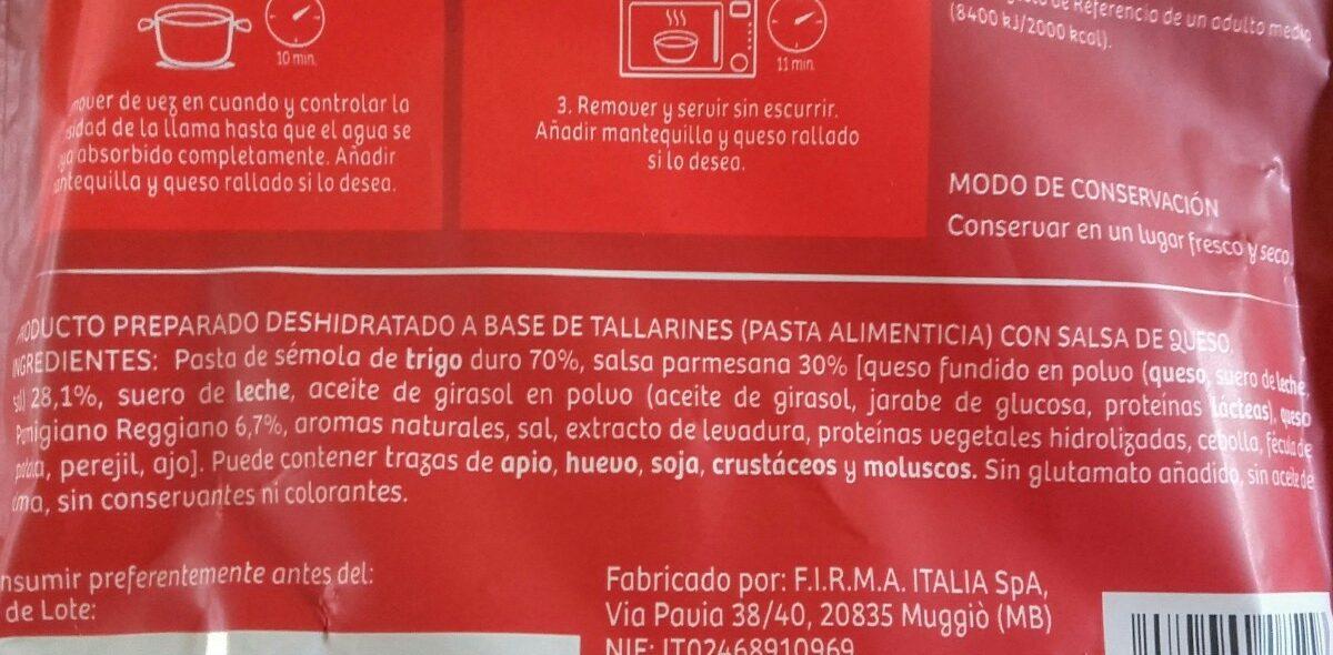 Tallarines a la Parmesana - Ingrédients
