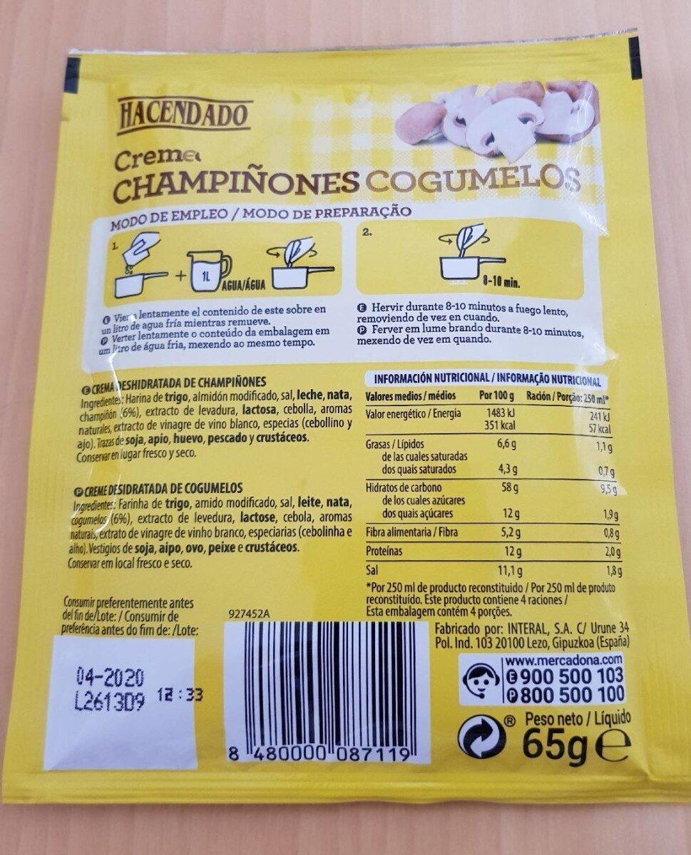 informacion nutricional crema de champiñones