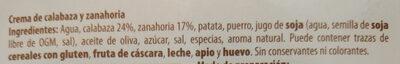 Crema de calabaza y zanahoria - Ingrédients - es