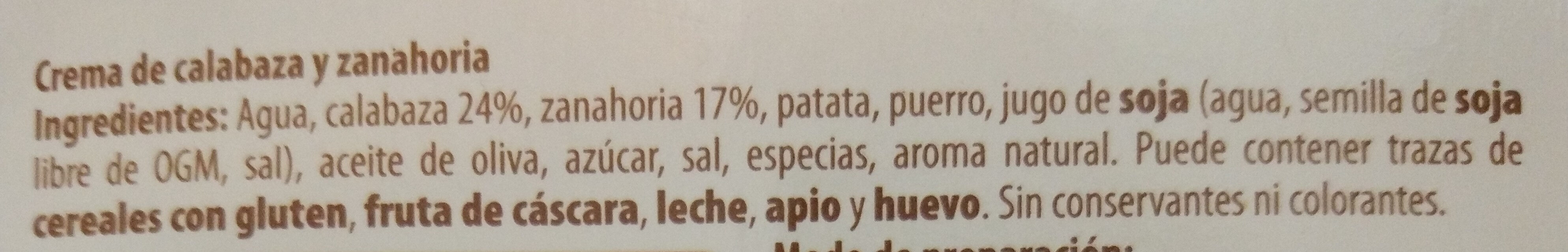 Crema de calabaza y zanahoria - Ingredients - es
